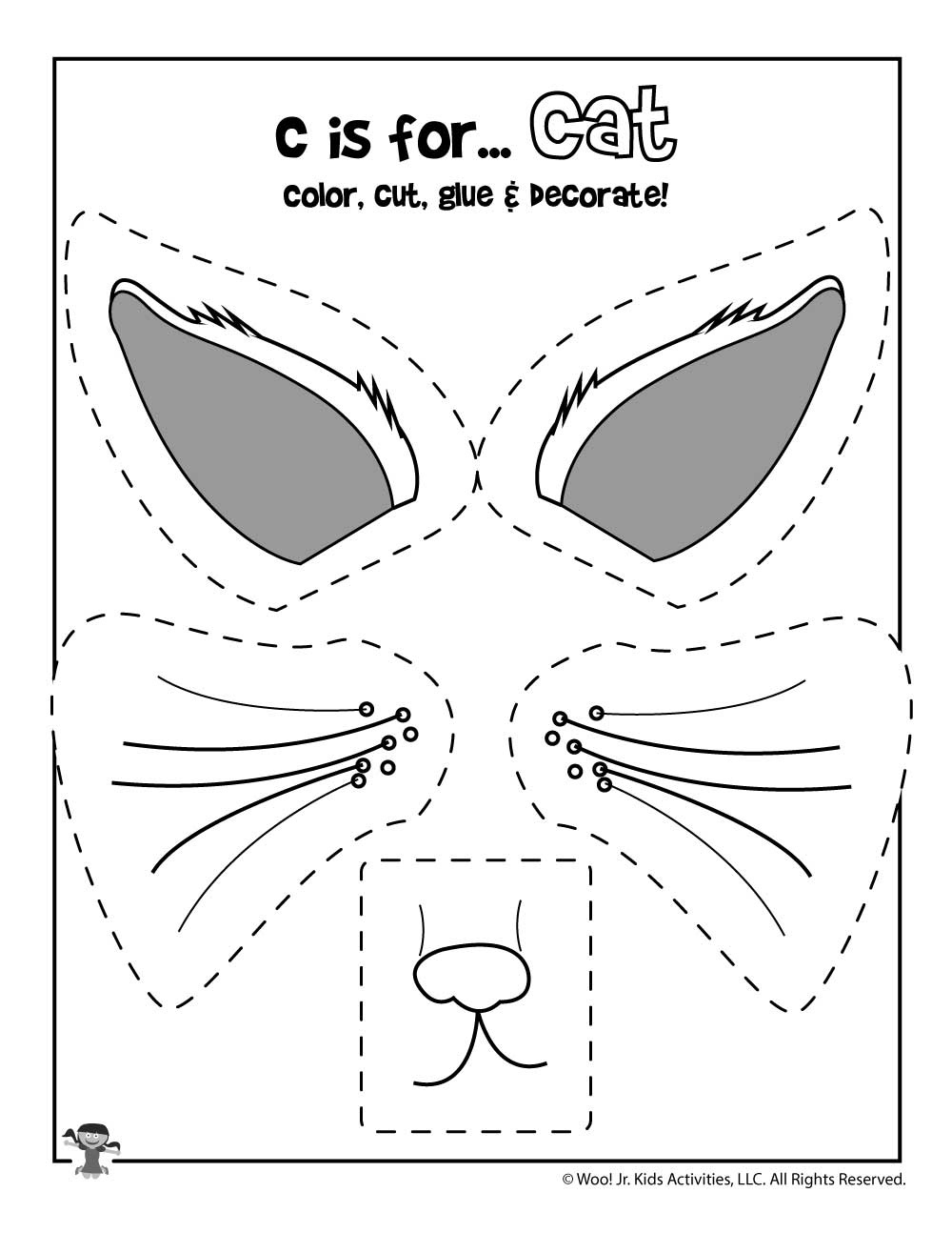 C Is For Cat - Color, Cut And Paste | Woo! Jr. Kids Activities with Letter C Worksheets Cut And Paste
