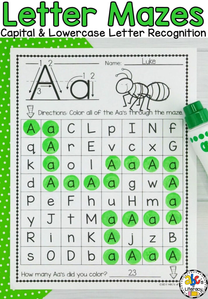 Capital And Lowercase Letter Mazes | Letter Maze, Lower Case Regarding Alphabet Worksheets Maze