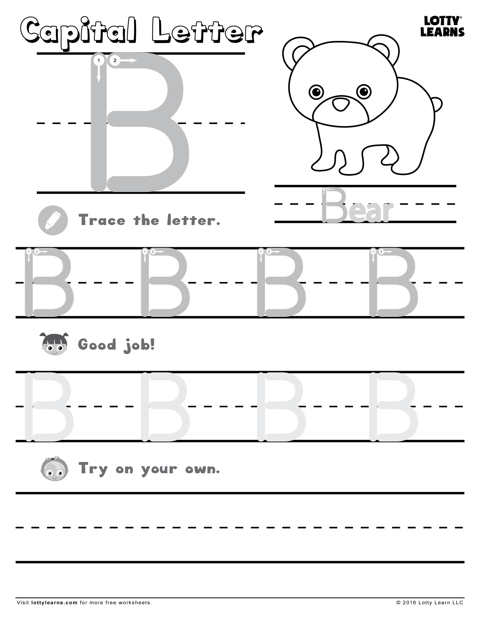 Capital Letter B | Lotty Learns | Letter B, Learning Letters pertaining to Letter B Worksheets For Kindergarten