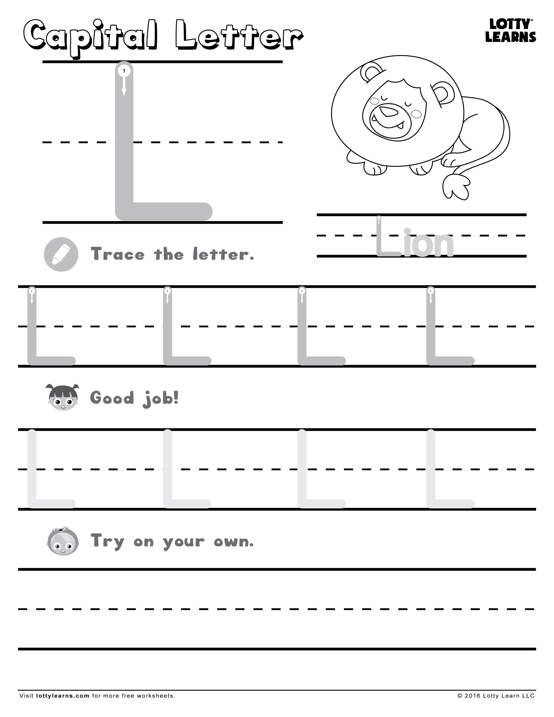Capital Letter L | Lotty Learns | Lower Case Letters inside Letter L Worksheets For Preschool