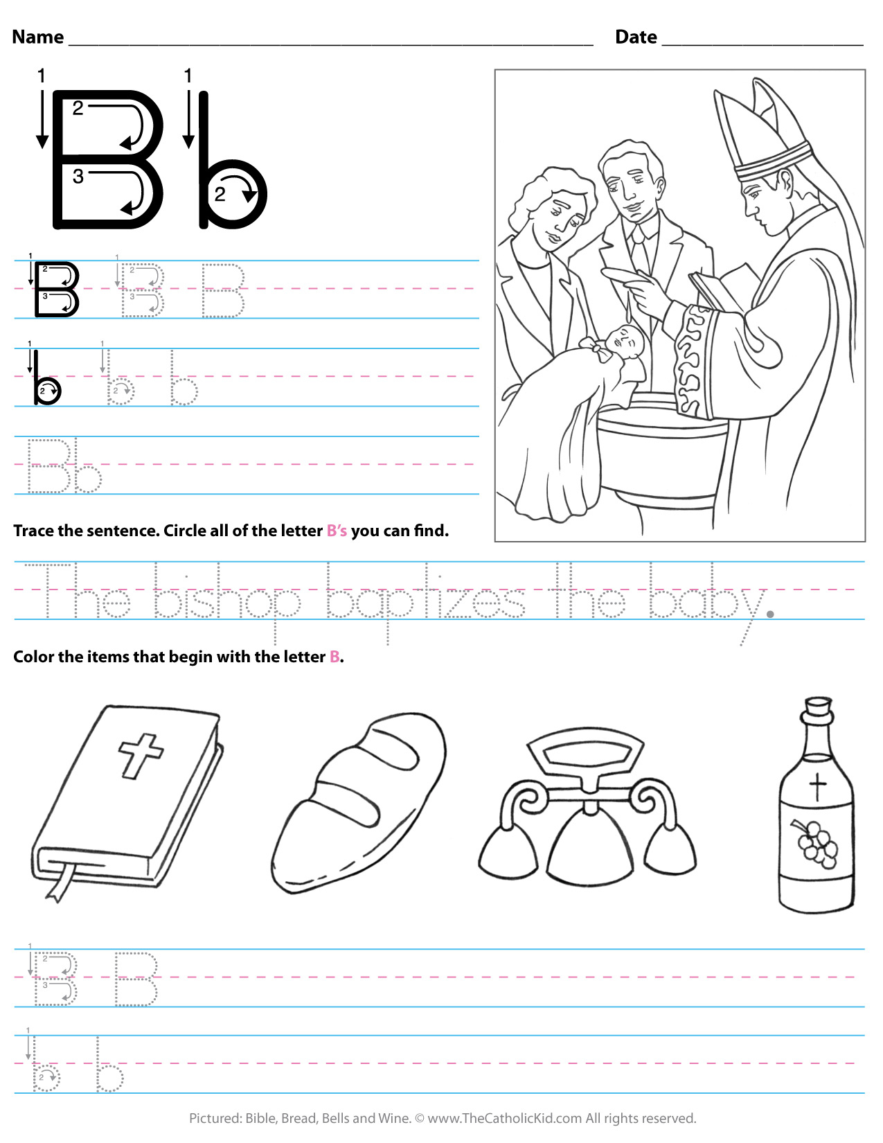 Catholic Alphabet Letter B Worksheet Preschool Kindergarten within Letter B Worksheets For Kindergarten