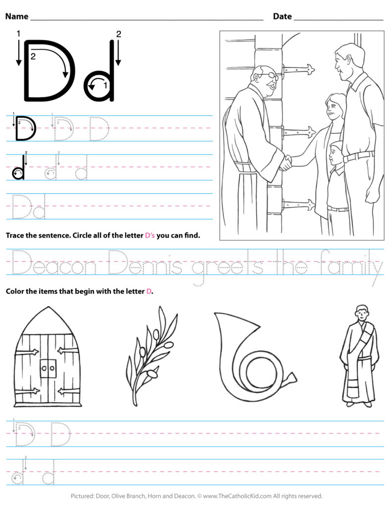 Catholic Alphabet Letter D Worksheet Preschool Kindergarten With Regard To Letter D Worksheets For Kindergarten