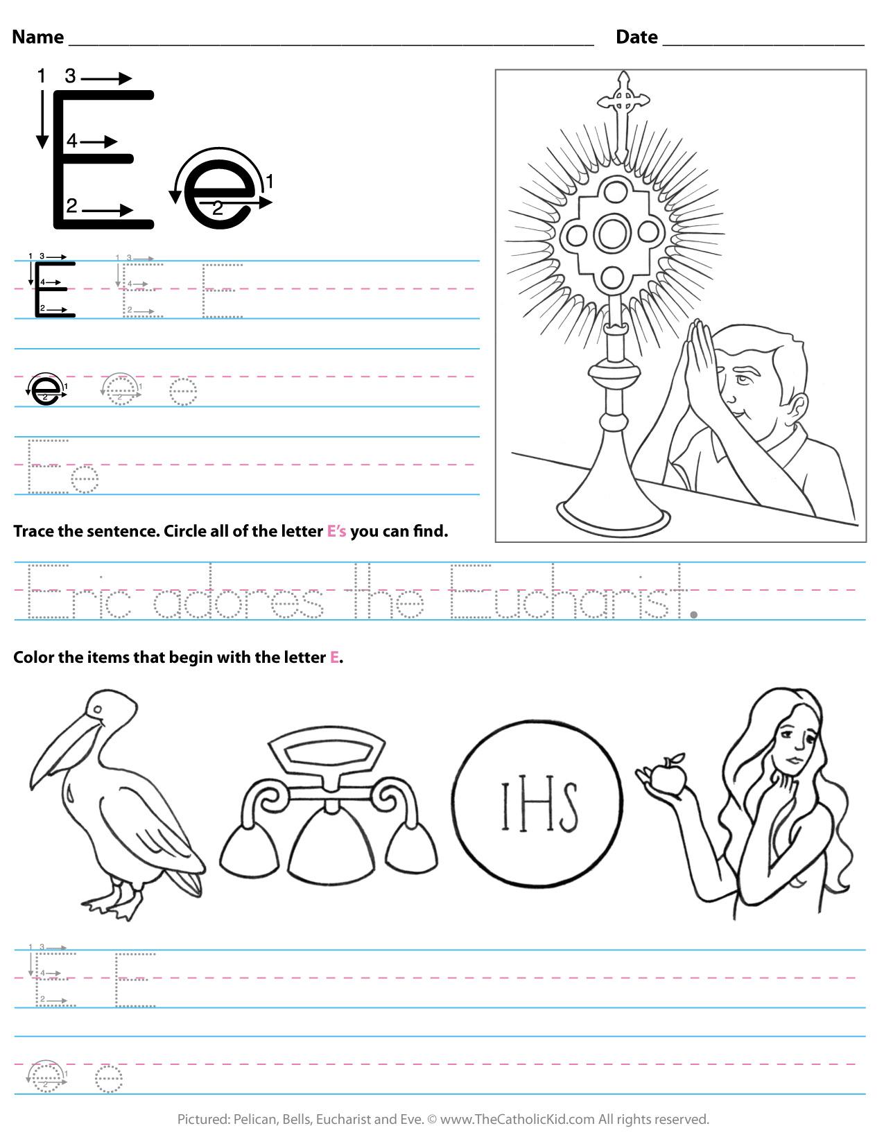 Catholic Alphabet Letter E Worksheet Preschool Kindergarten intended for Letter I Worksheets For Preschool