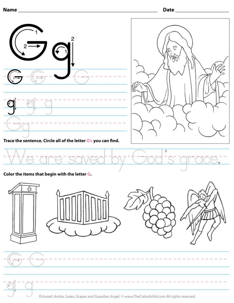 Catholic Alphabet Letter G Worksheet Preschool Kindergarten Within Letter G Worksheets For Kindergarten