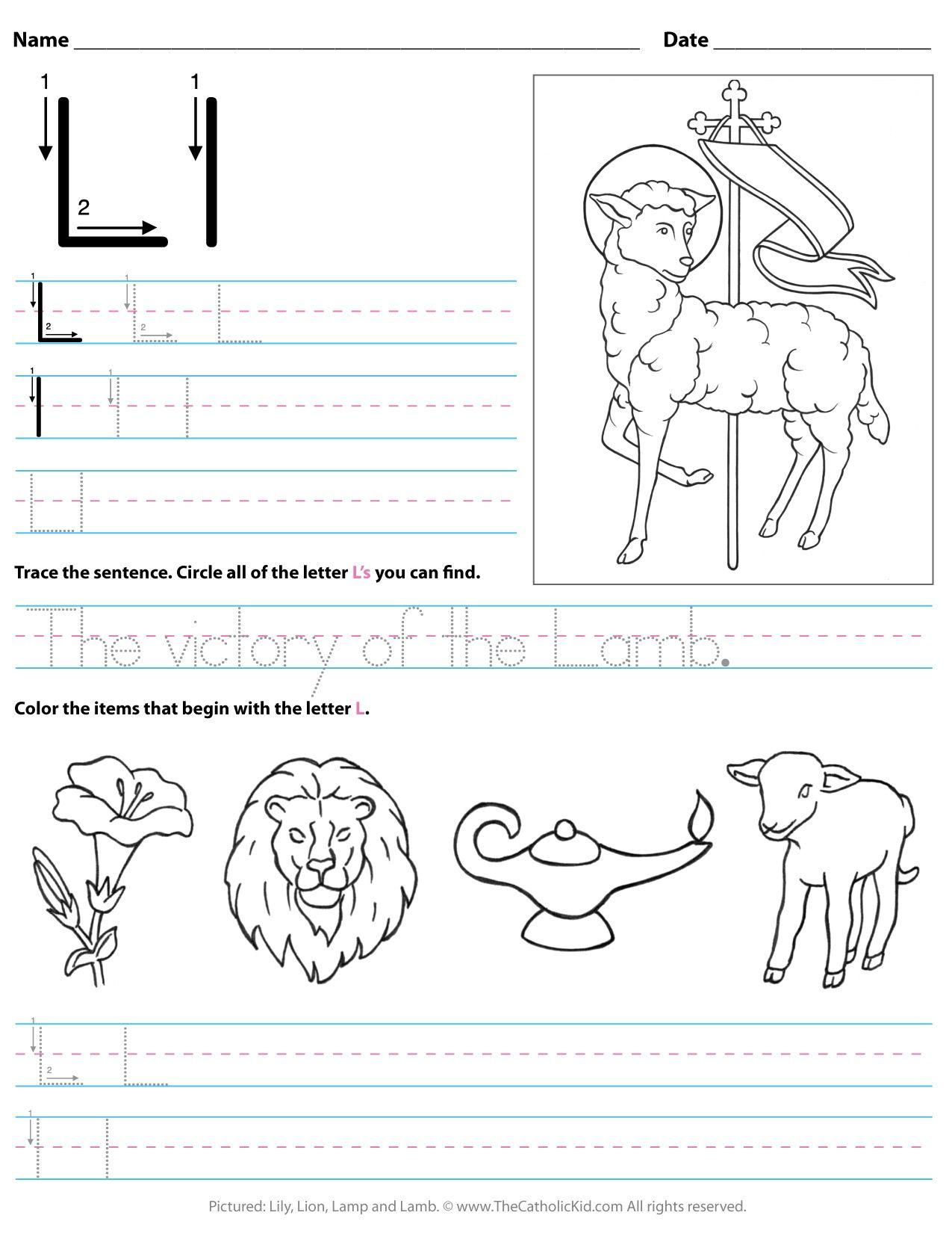 Catholic Alphabet Letter L Worksheet Preschool Kindergarten for Letter L Worksheets For Preschool
