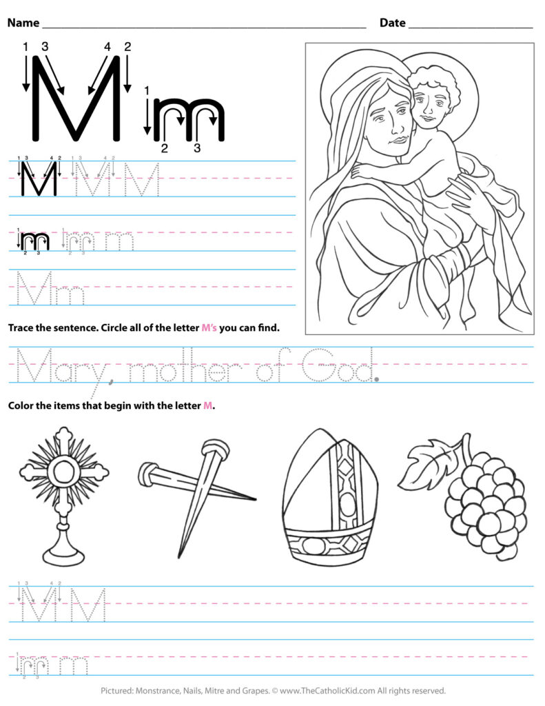 Catholic Alphabet Letter M Worksheet Preschool Kindergarten With Regard To Letter M Worksheets For Kindergarten
