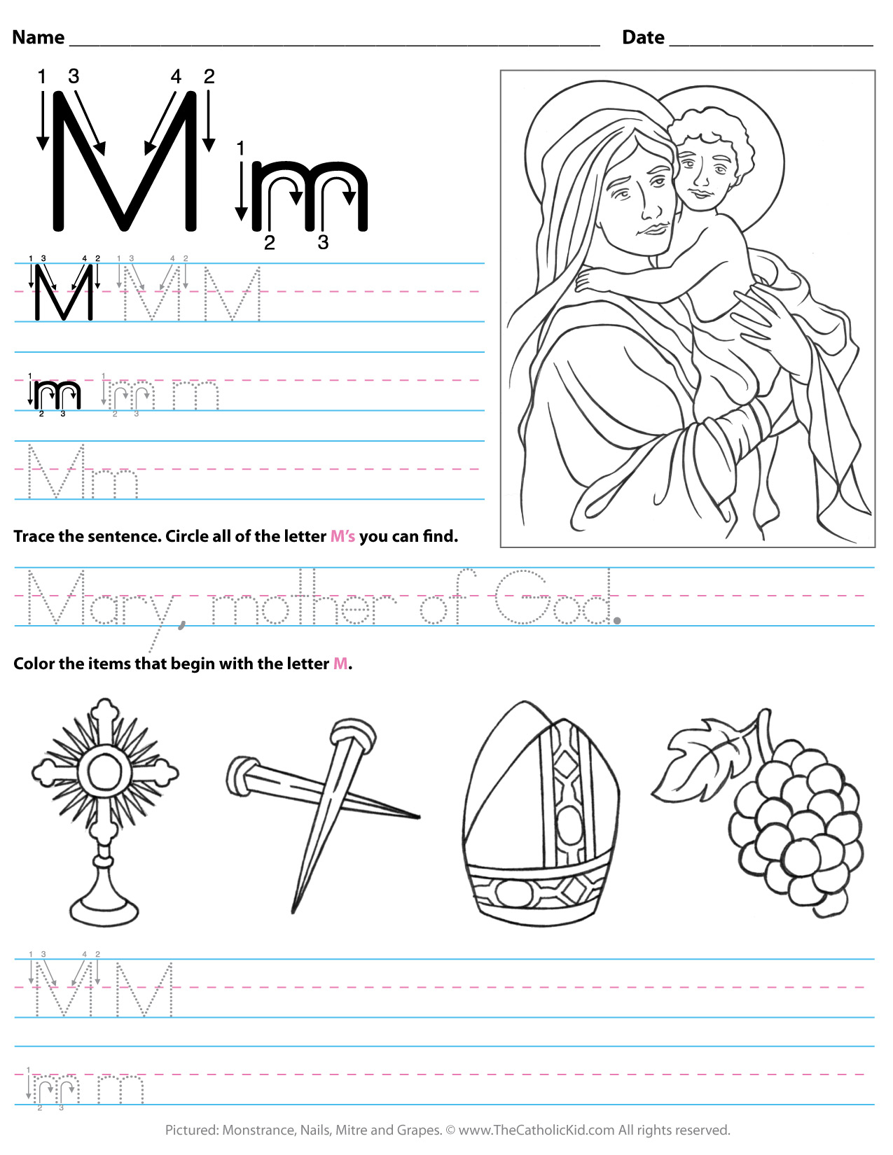 Catholic Alphabet Letter M Worksheet Preschool Kindergarten with regard to Letter M Worksheets For Kindergarten