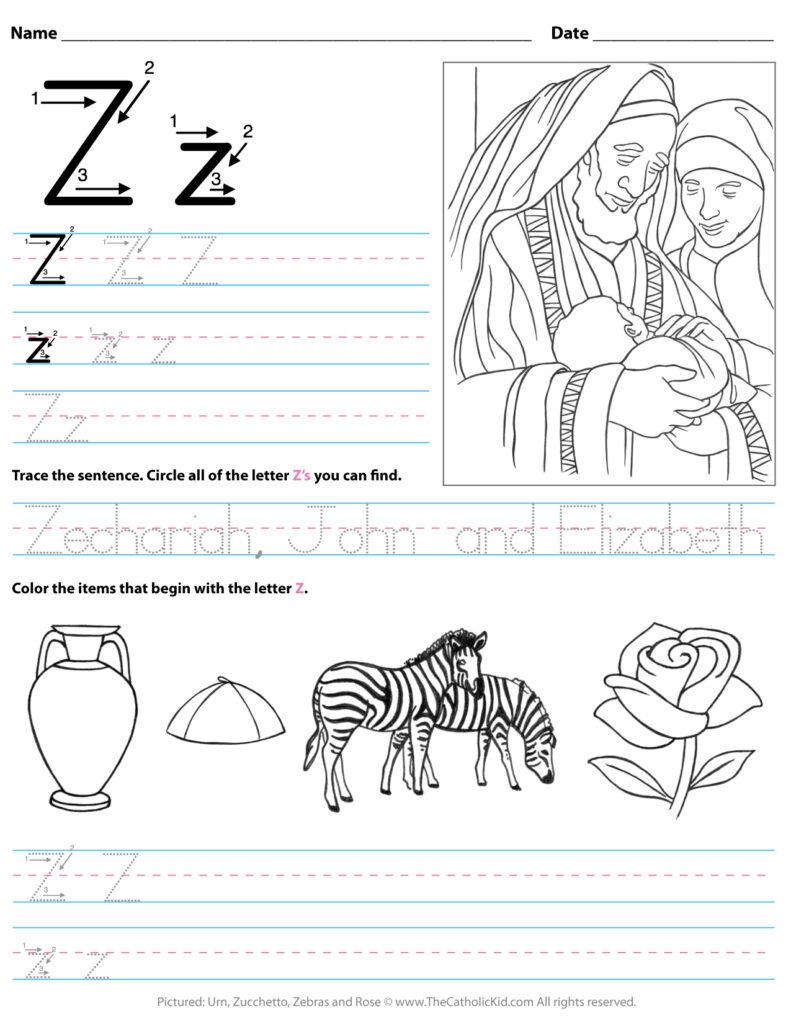 Catholic Alphabet Letter Z Worksheet Preschool Kindergarten Pertaining To Letter Z Worksheets Pre K