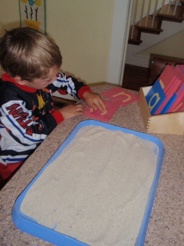 Christine's Crazy Kids: Sandpaper Letters & Sand Tracing With Letter Tracing In Sand
