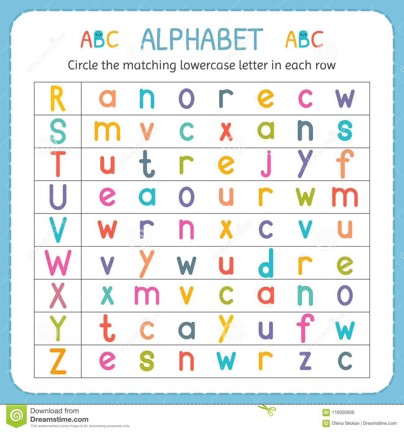 Circle The Matching Lowercase Letter In Each Row. From R To with Alphabet Matching Worksheets For Kindergarten