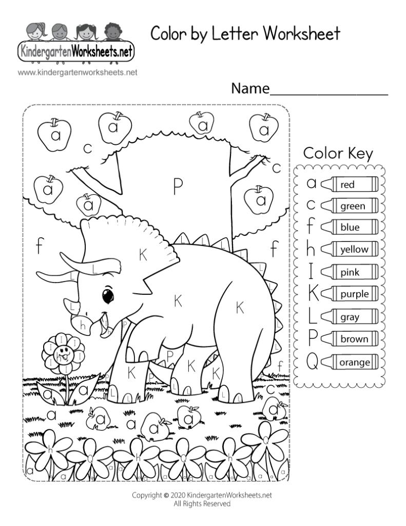 Colorletter Worksheet For Kindergarten   Free Printable With Alphabet Worksheets For Kindergarten Pdf