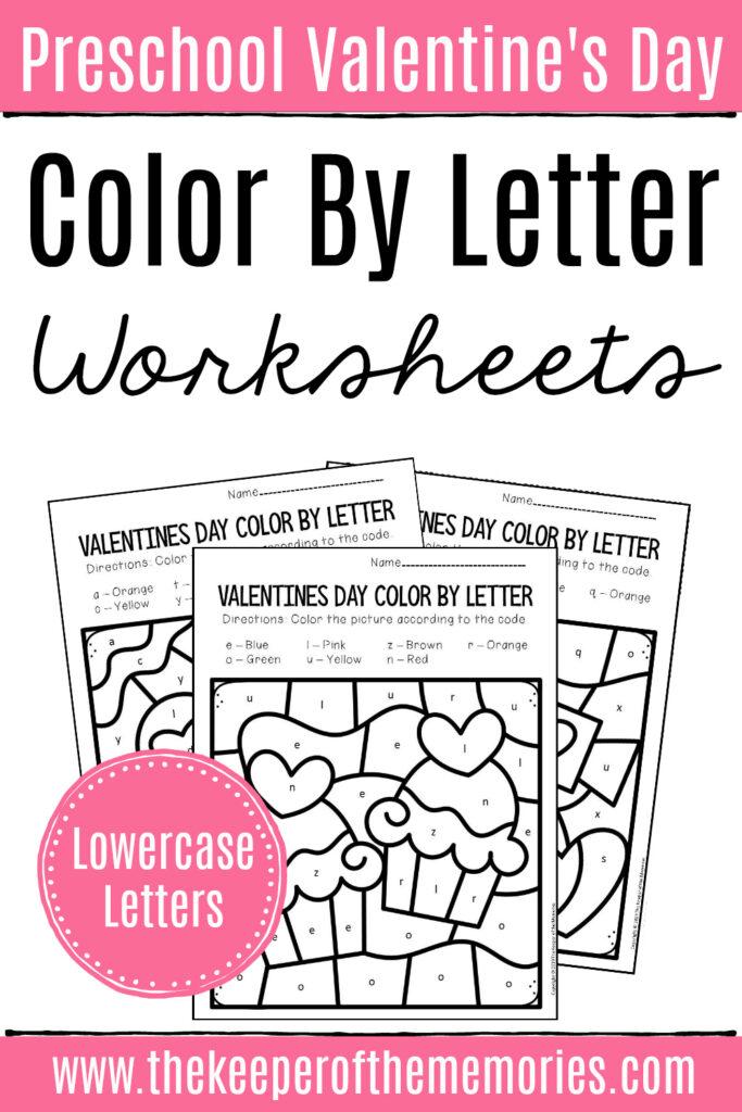 Colorlowercase Letter Valentine's Day Preschool Worksheets In Valentine Alphabet Worksheets