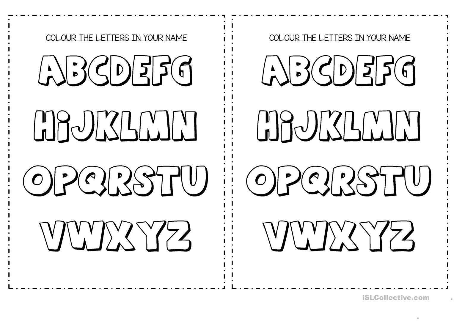 Colour The Letters In Your Name - English Esl Worksheets For with Letter Name Worksheets