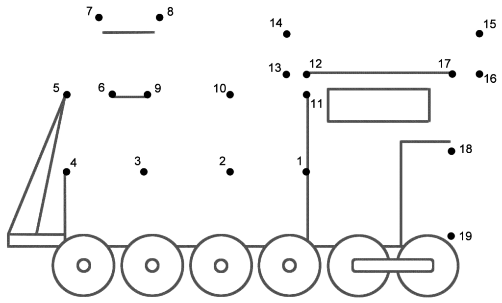Connect The Dots   Train (Numbers 1 19) | Alphabet In Alphabet Worksheets Dot To Dot