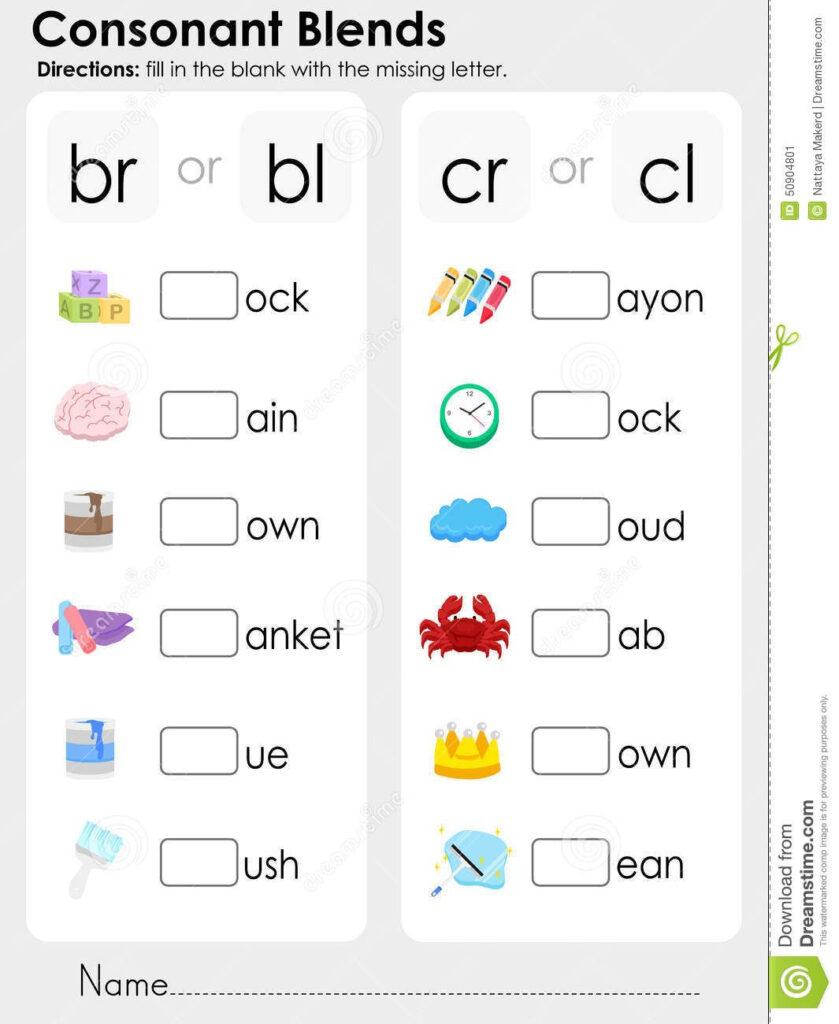 Consonant Blends : Missing Letter   Worksheet For Education For Letter Worksheets Year 1