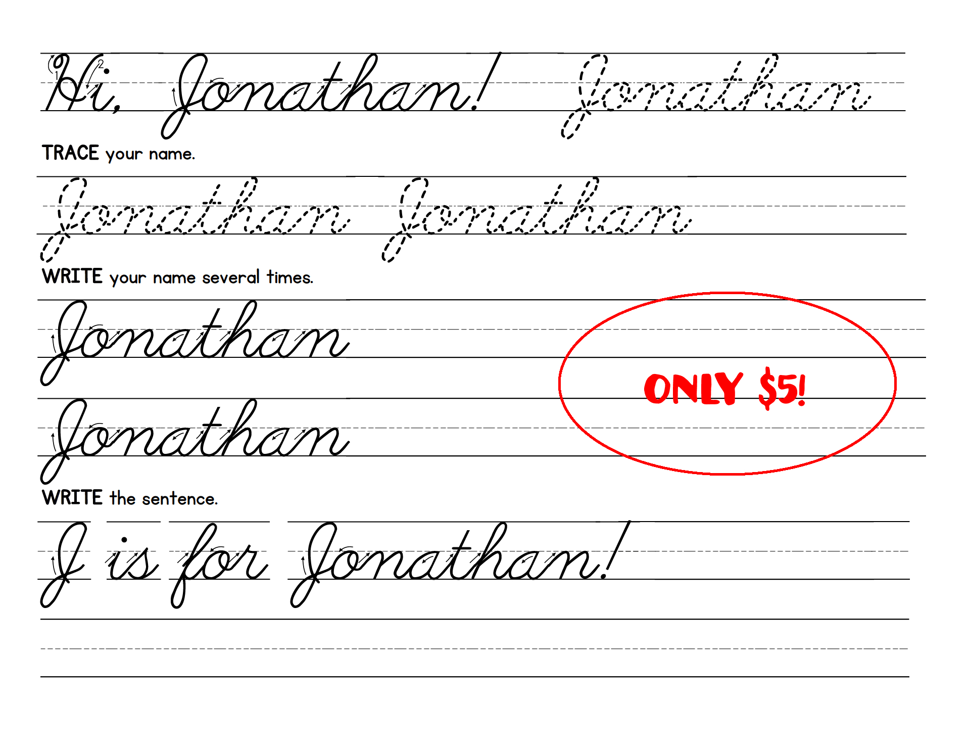 Create Personalized Cursive Handwriting Worksheets For Kids in Jonathan Name Tracing