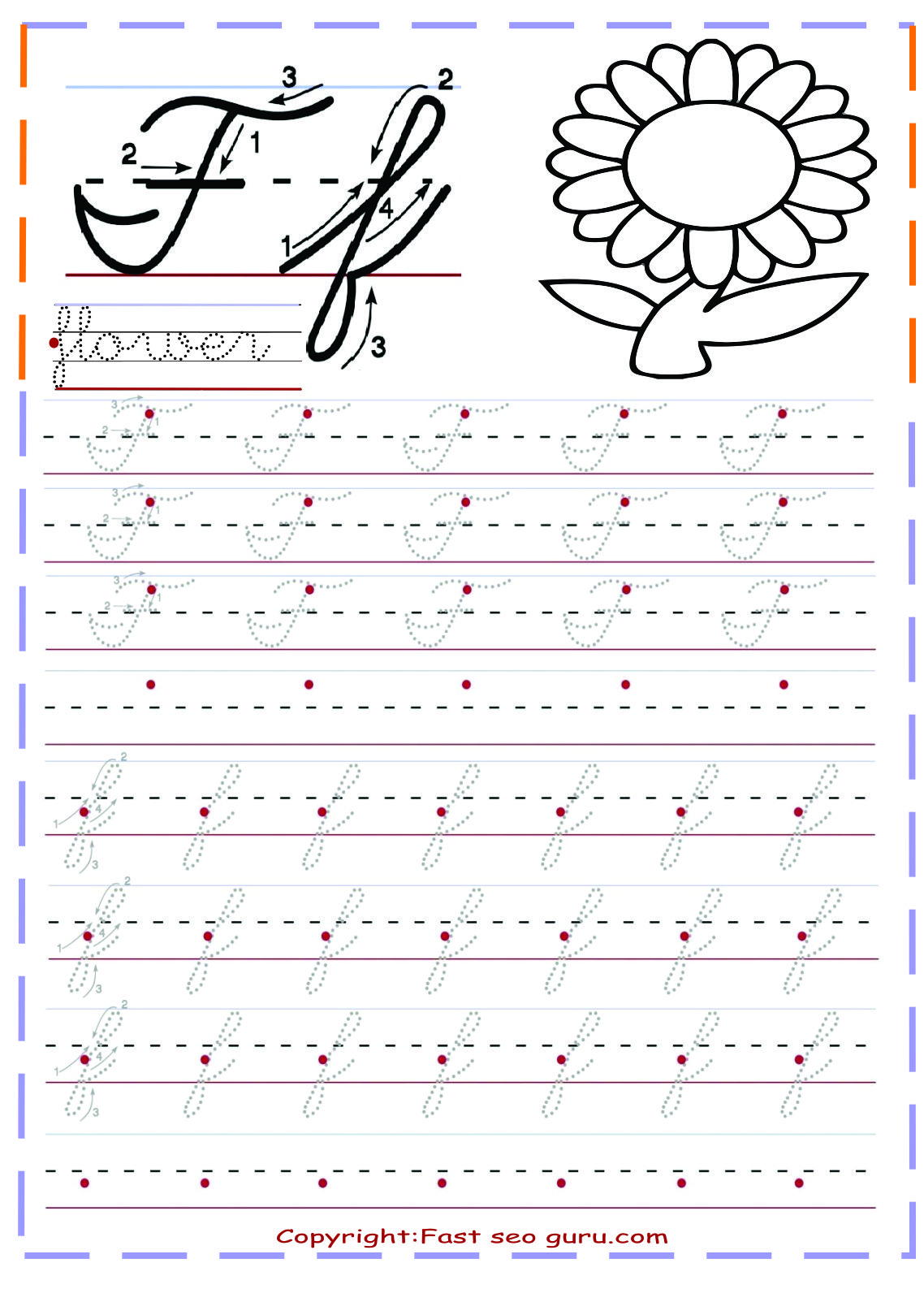 Cursive Handwriting Tracing Worksheets For Practice Letter F throughout Alphabet Worksheets Cursive