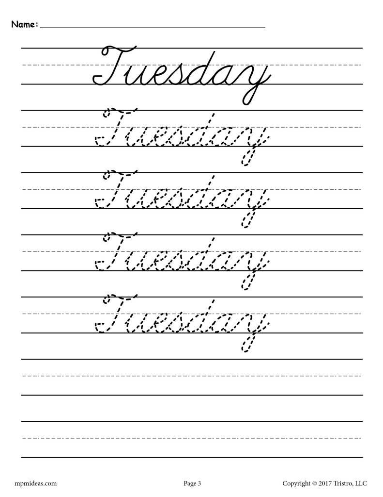 Cursive Handwriting Worksheets Days Of The Week Supplyme in Name Tracing Worksheets Cursive