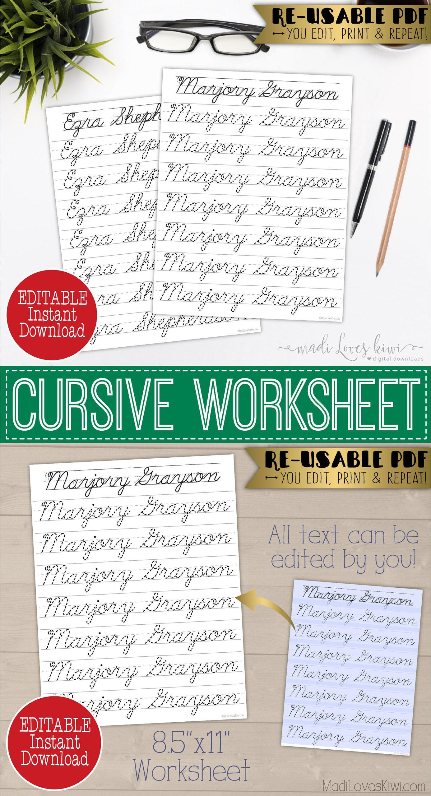 Cursive Name Writing Worksheet, Editable Script Handwriting in Name Tracing Cursive