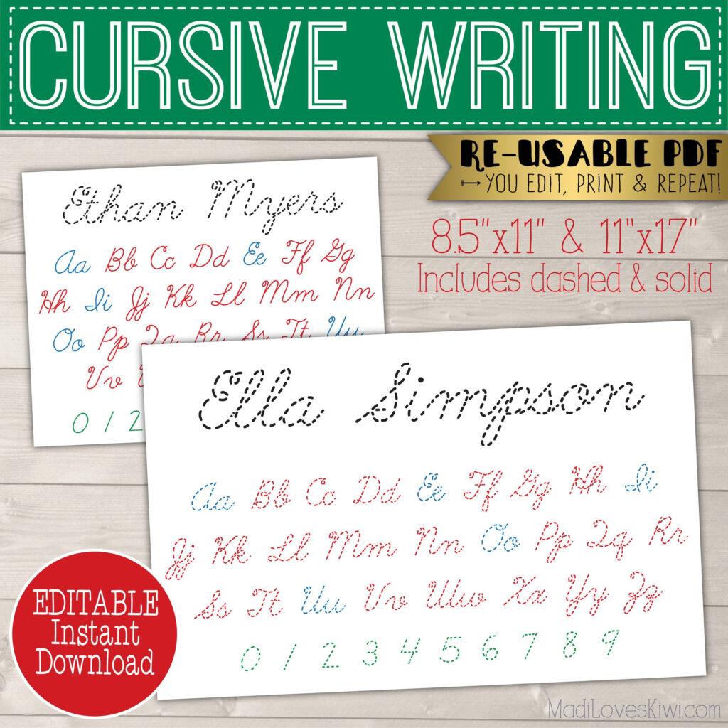 Cursive Name Writing Worksheet, Printable Handwriting Inside Name Tracing Cursive