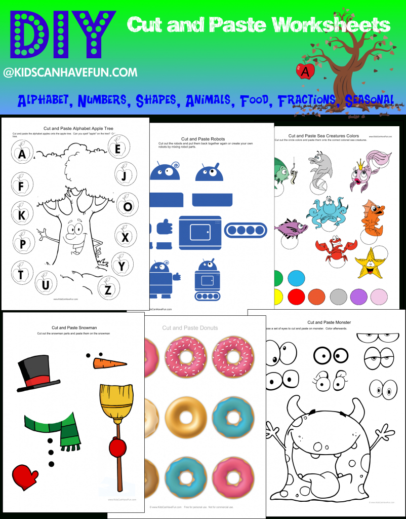 Cut And Paste Worksheets, Activities For Kindergarten, Preschool throughout Alphabet Cutting Worksheets
