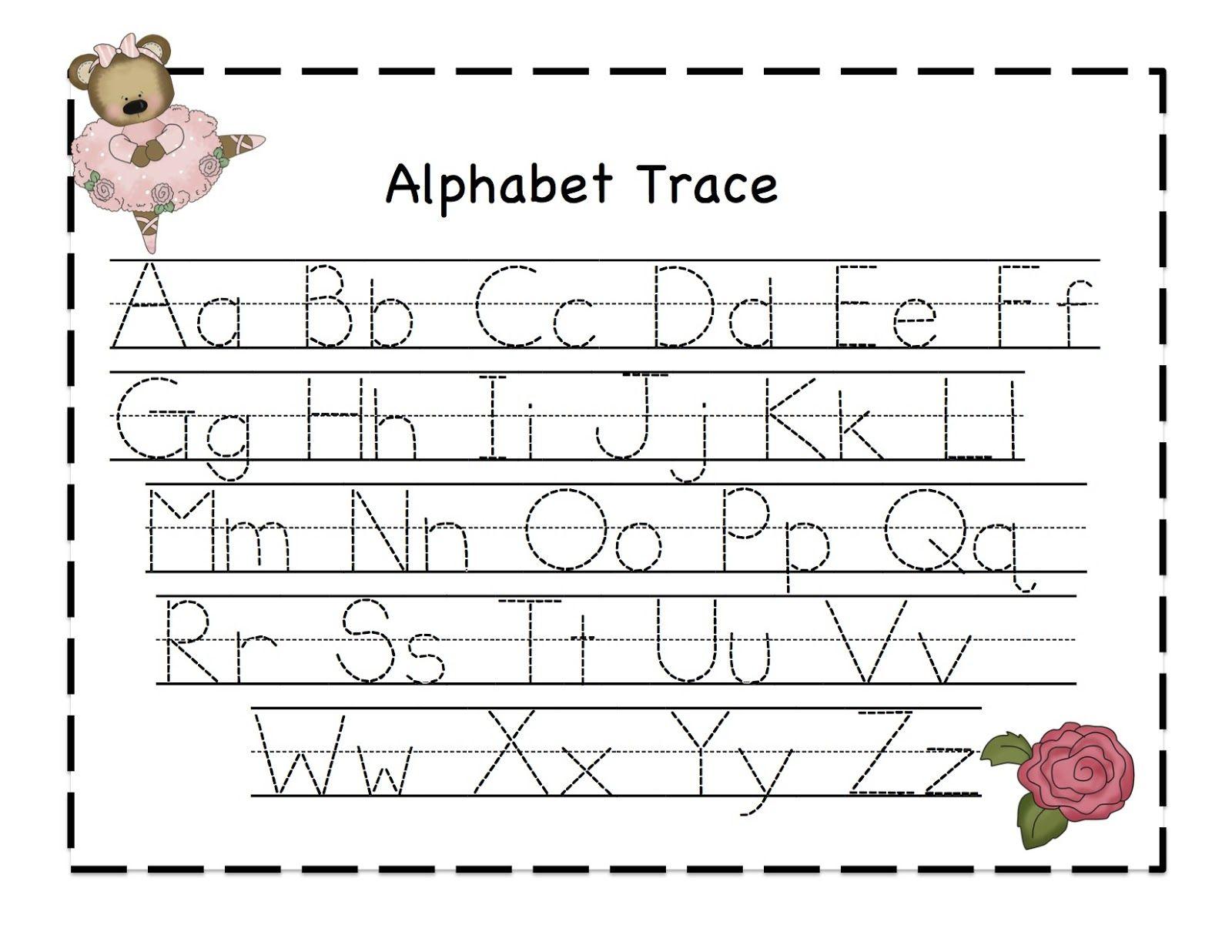 Dancing Bear Alphabet Trace Chart. Free.   Alphabet Tracing intended for Alphabet Tracing Chart