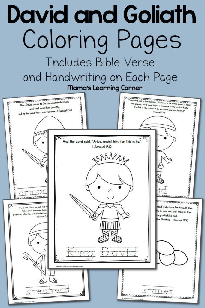 David And Goliath Bible Coloring Pages   Mamas Learning Corner Regarding Tracing Name David