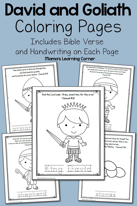 David And Goliath Bible Coloring Pages - Mamas Learning Corner regarding Tracing Name David