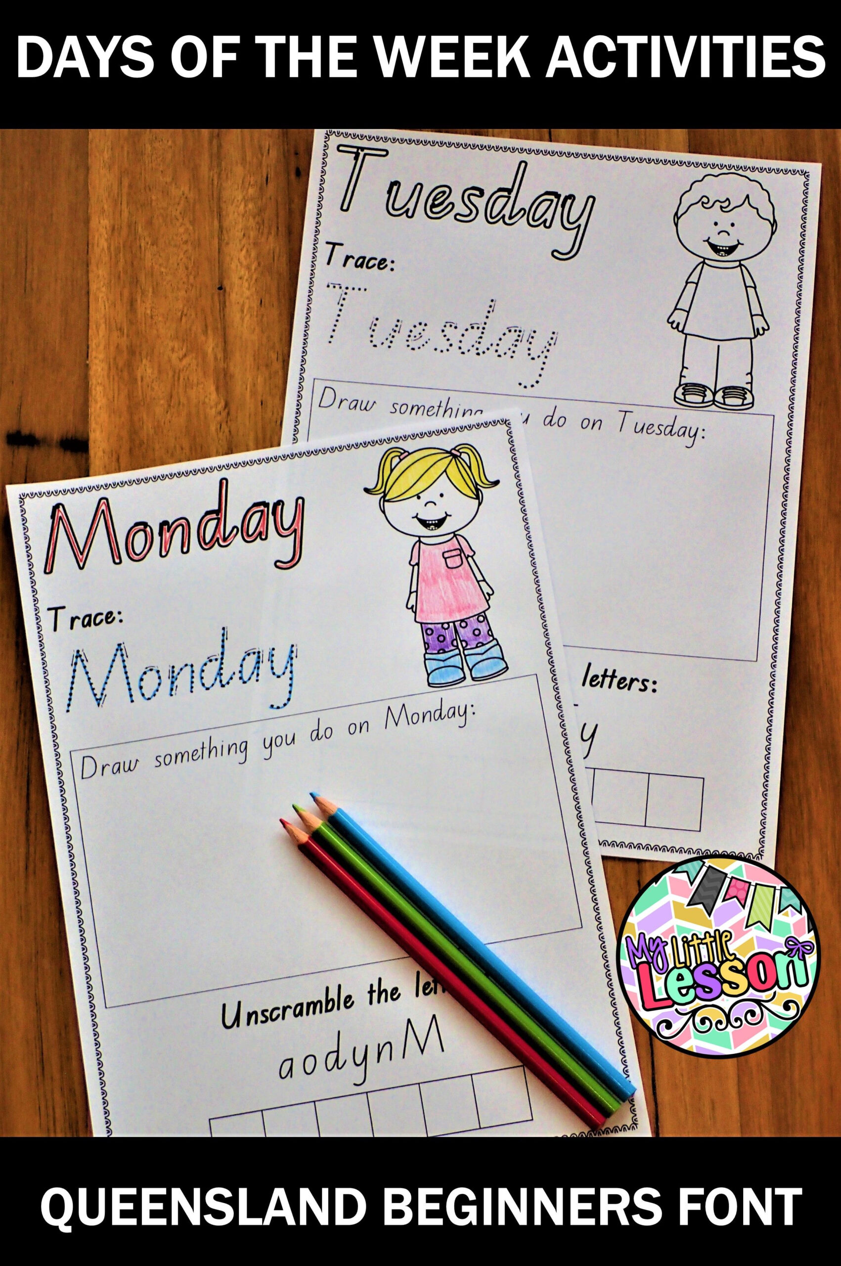 Days Of The Week Worksheets Qld Beginners Font (With Images within Name Tracing Template Qld Font