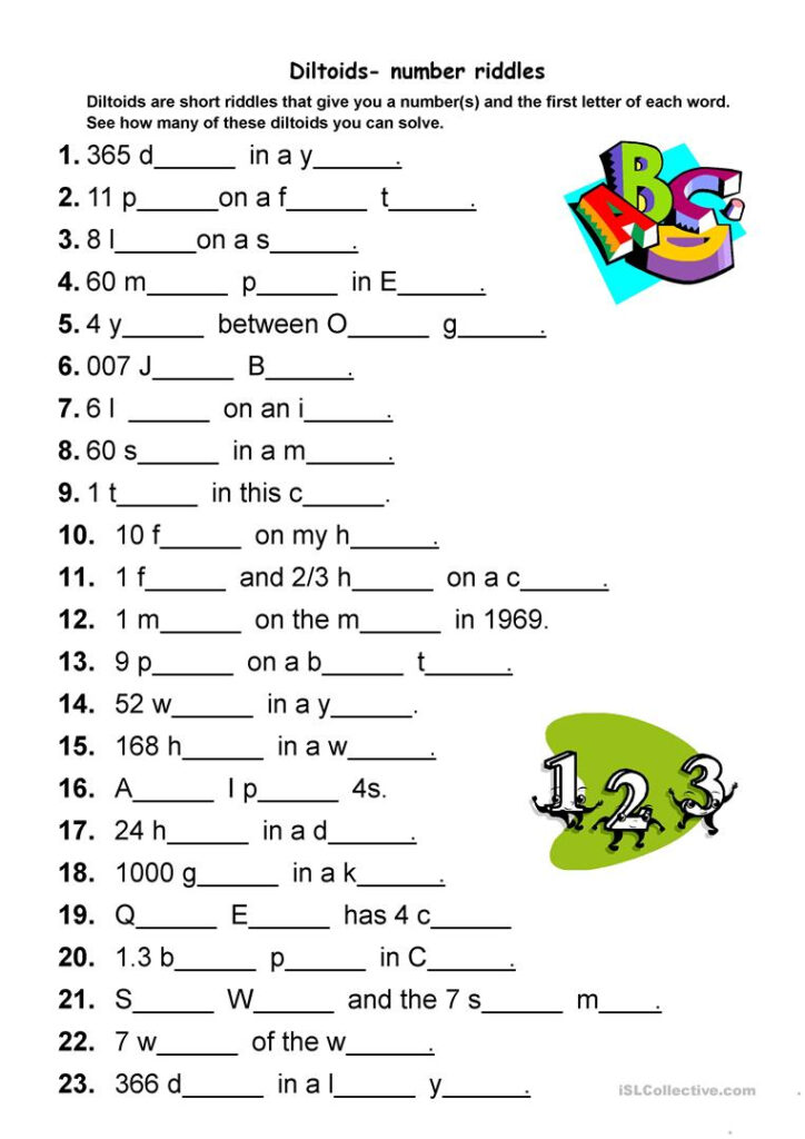 Diltoids  Number/letter Puzzles   English Esl Worksheets For For Alphabet Numbers Worksheets