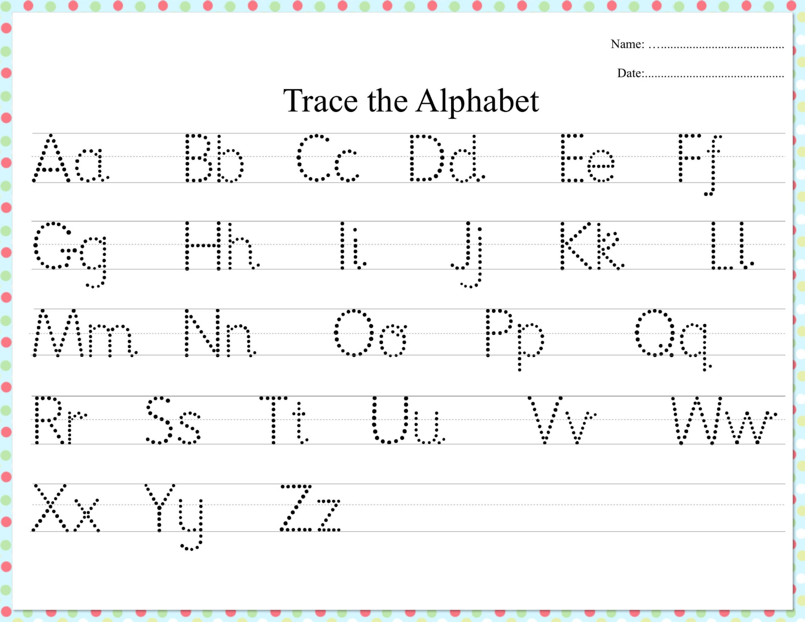 Dotted Alphabet Trace Practice Worksheet | Practices in Alphabet Tracing Dots
