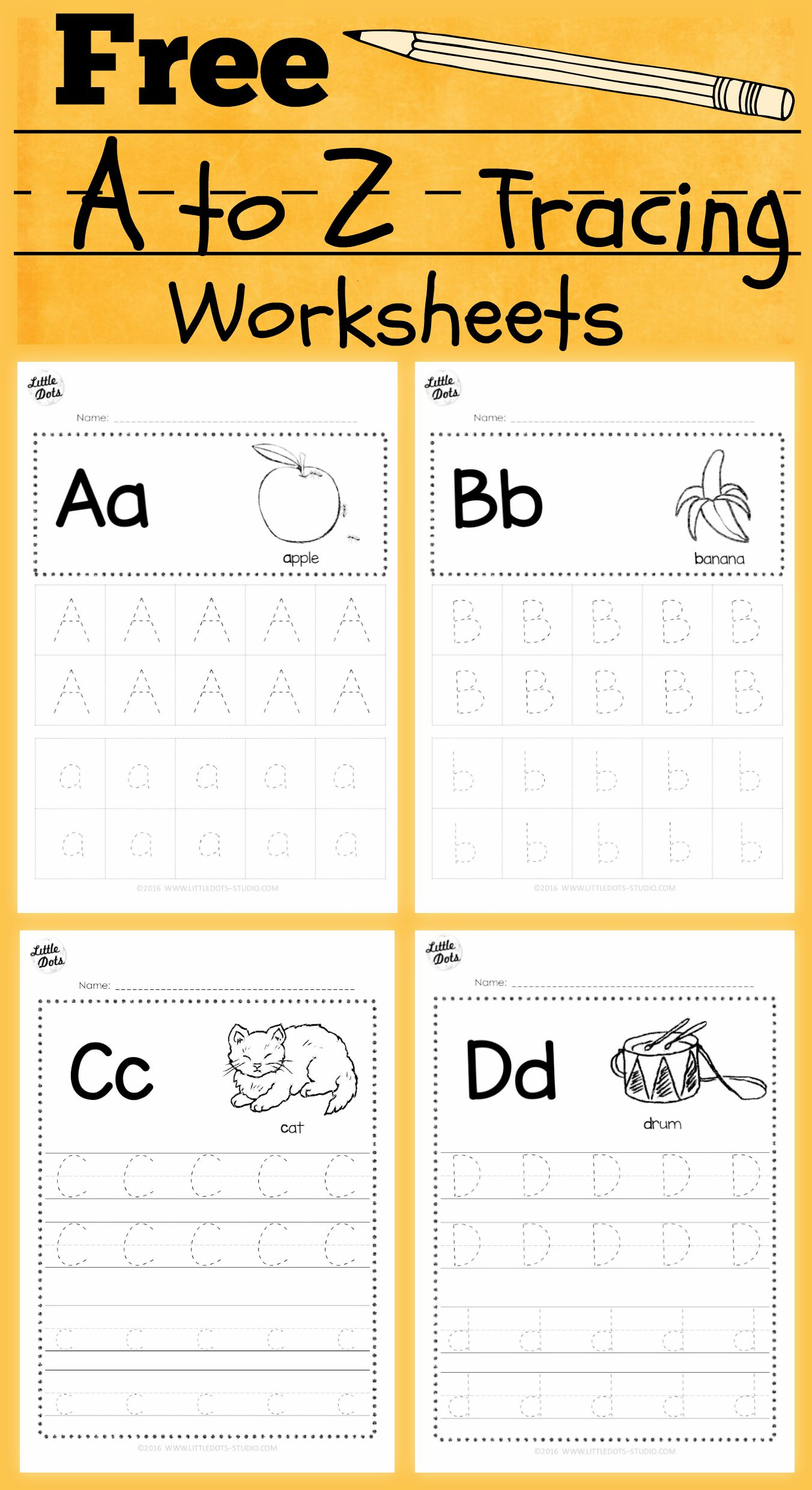 Download Free Alphabet Tracing Worksheets For Letter A To Z with regard to A-Z Name Tracing