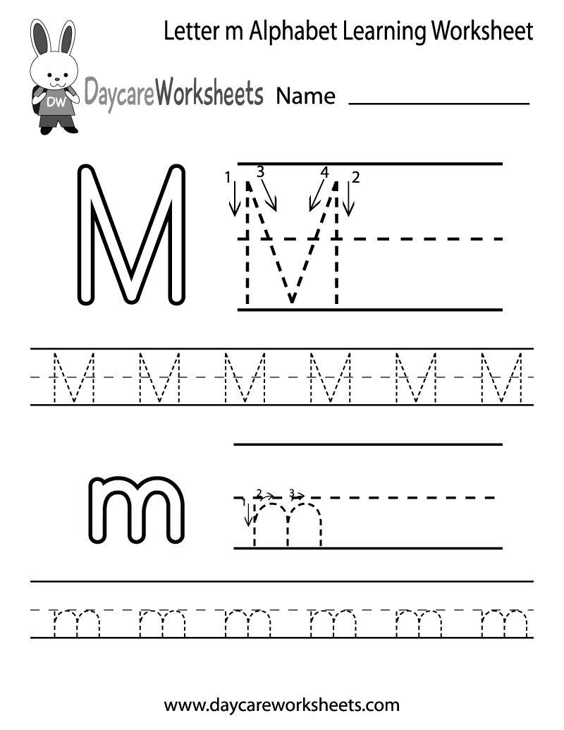 Draft Free Letter M Alphabet Learning Worksheet For with regard to Alphabet Worksheets For Preschool