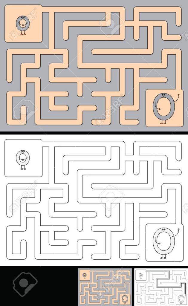 Easy Alphabet Maze For Kids With A Solution   Worksheet For Learning.. Inside Alphabet Worksheets Maze