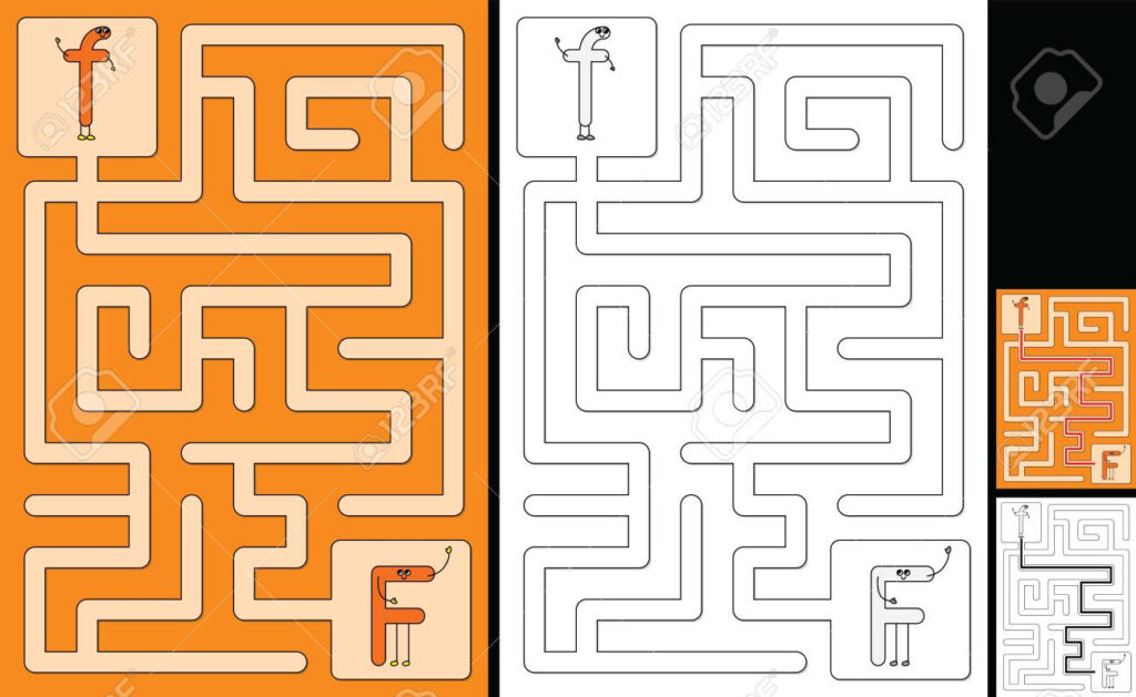 Easy Alphabet Maze For Kids With A Solution   Worksheet For Learning.. Pertaining To Alphabet Worksheets Maze
