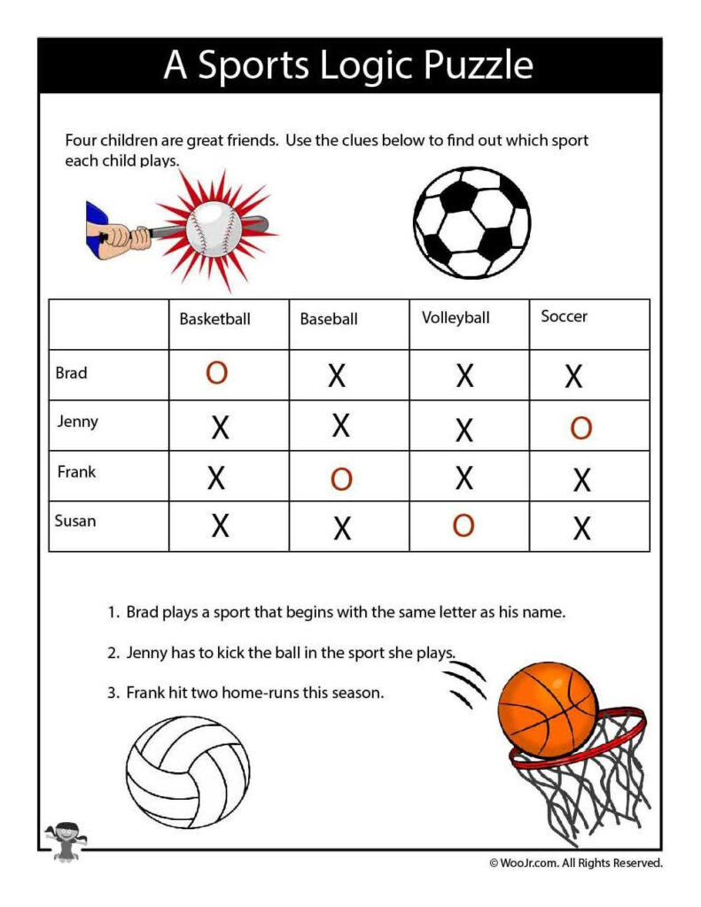Easy Sports Logic Puzzle   Answers | Logic Puzzles, Puzzles For Letter Logic Worksheets Answers