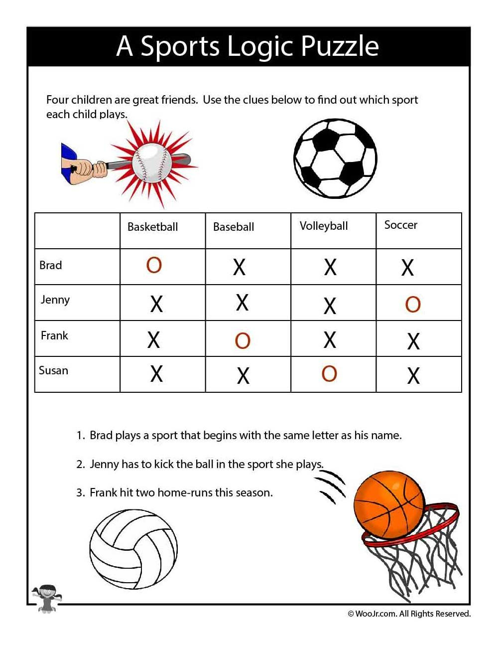 Easy Sports Logic Puzzle - Answers | Logic Puzzles, Puzzles for Letter Logic Worksheets Answers