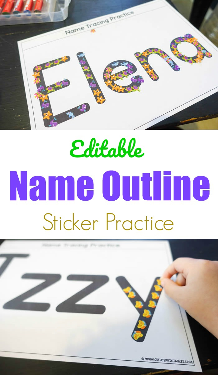 Editable Name Outline Sticker Practice - Create Printables inside Rainbow Name Tracing
