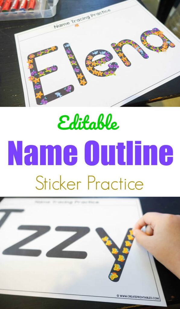 Editable Name Outline Sticker Practice   Create Printables Pertaining To Name Tracing Outline