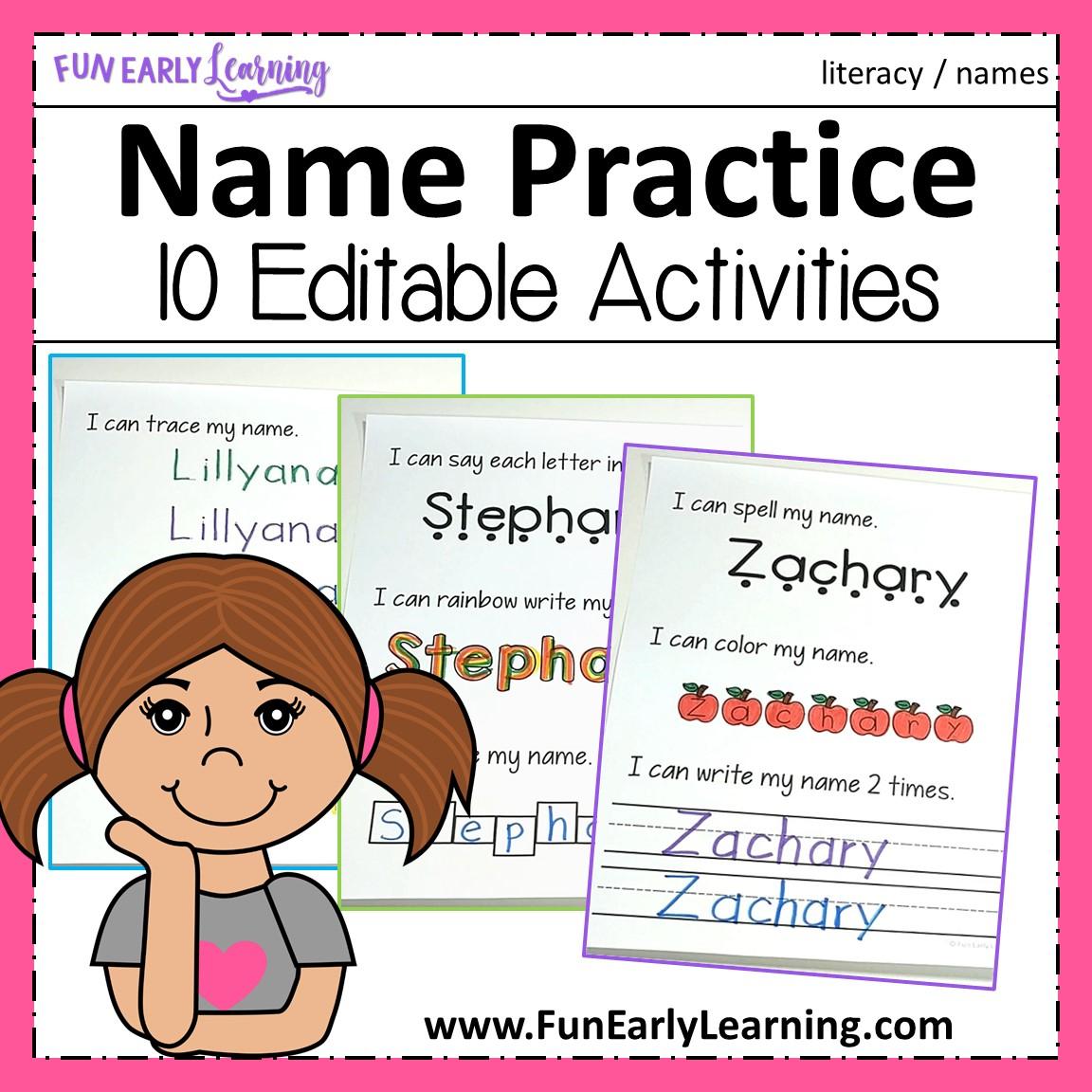 Editable Name Practice for Editable Name Tracing Preschool