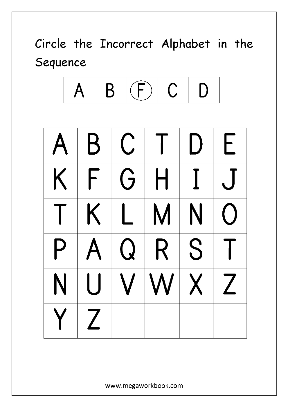 English Worksheets - Alphabetical Sequence | Alphabet with Alphabet Order Worksheets Printable