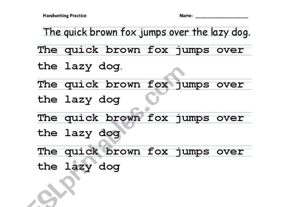English Worksheets: Handwriting Practice (Tracing All Regarding Name Tracing Guide