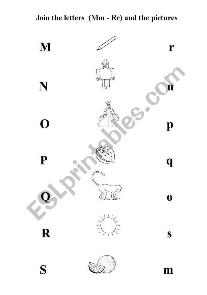 English Worksheets: Join The Letters Mm   Ss And The Pictures Throughout Letter Join Worksheets