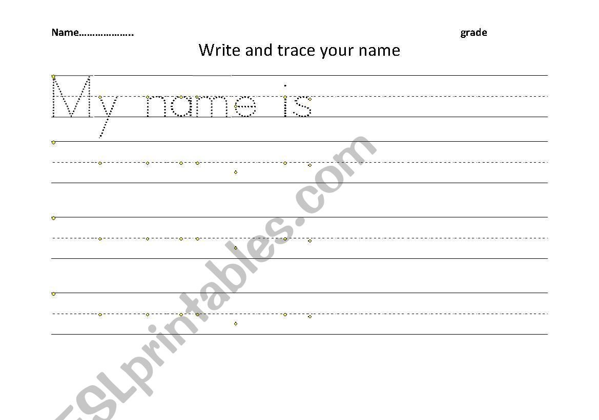English Worksheets: Trace And Write Your Name with Tracing Your Name Worksheets