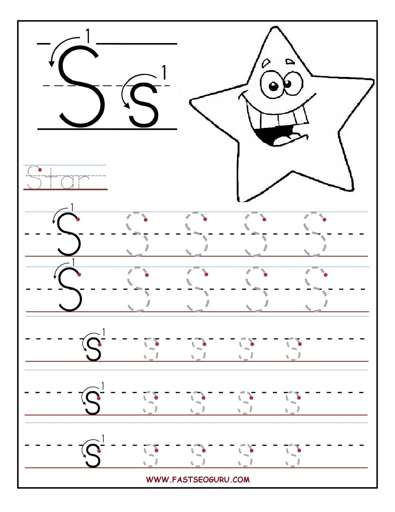 Fastseoguru Files Printable%20Letter%20S%20Tracing with Letter S Worksheets For Pre K