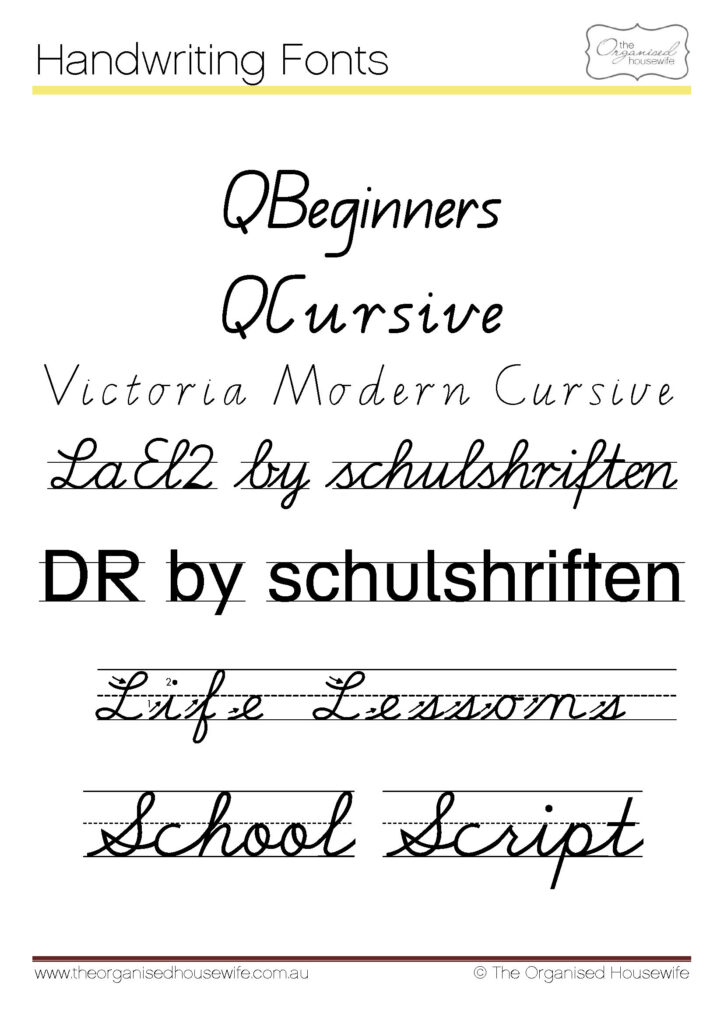Fonts To Help Kids To Write + Qld Cursive   The Organised Intended For Victoria Name Tracing