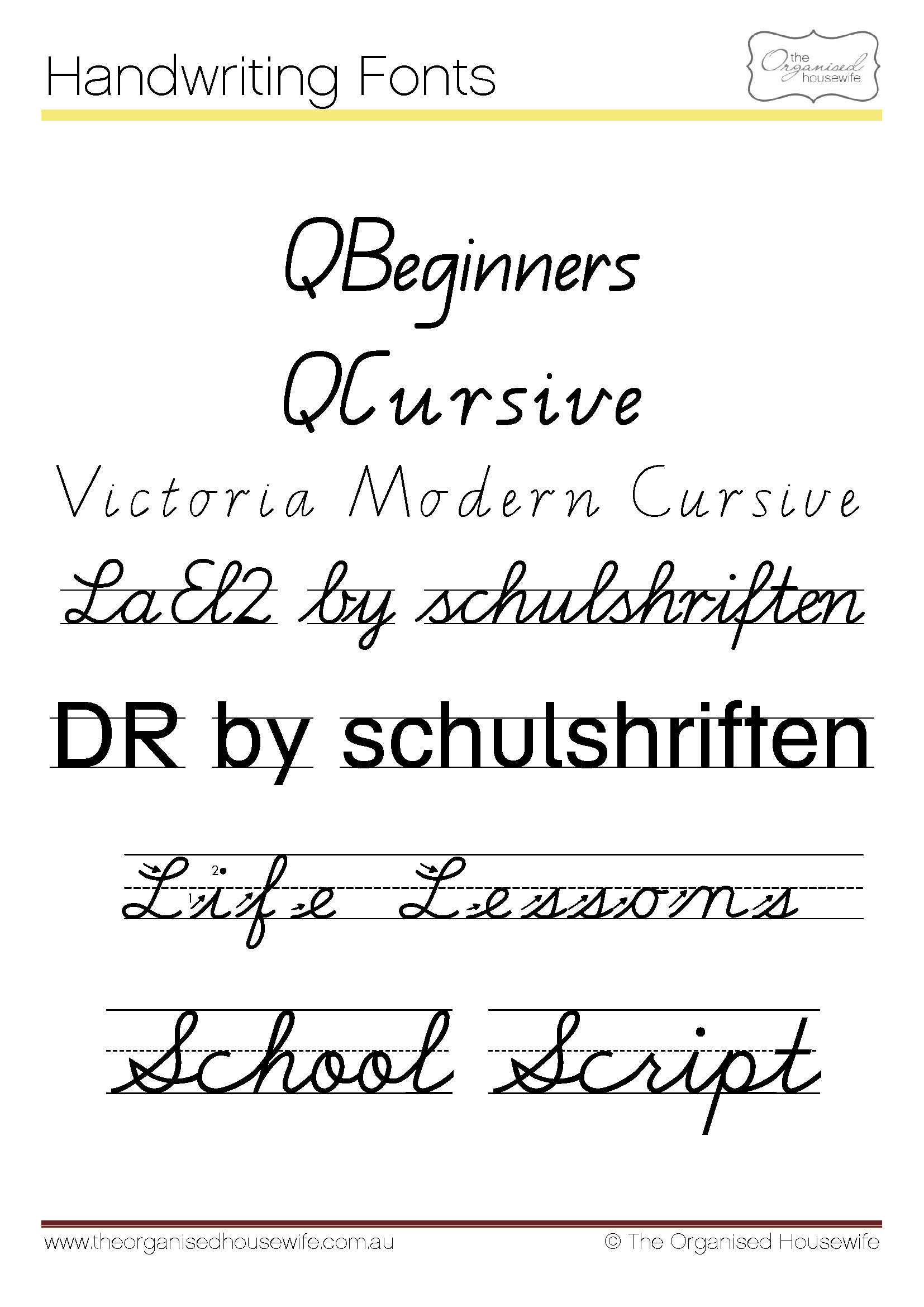 Fonts To Help Kids To Write + Qld Cursive - The Organised within Queensland Alphabet Tracing