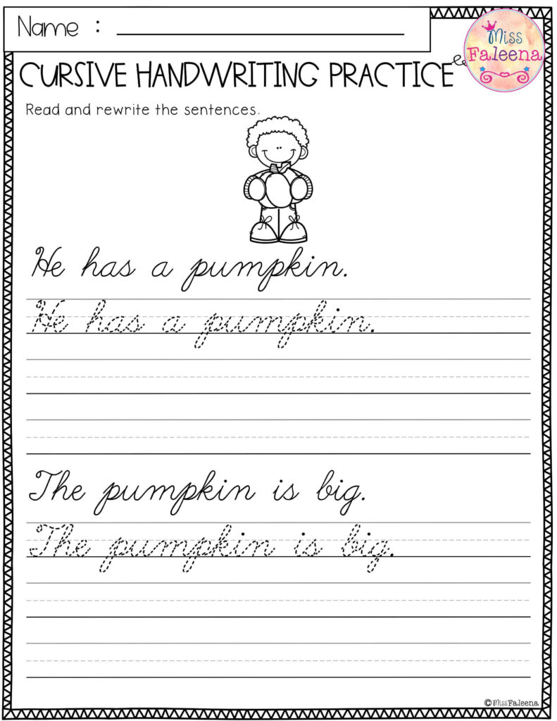 Free Cursive Handwriting Practice | Cursive Handwriting In Name Tracing Practice Cursive