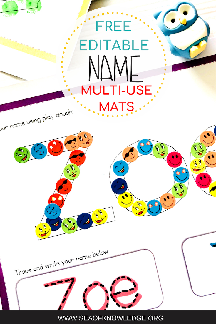 Free Editable Name Practice Play Dough And Tracing Mats with Name Tracing Mats