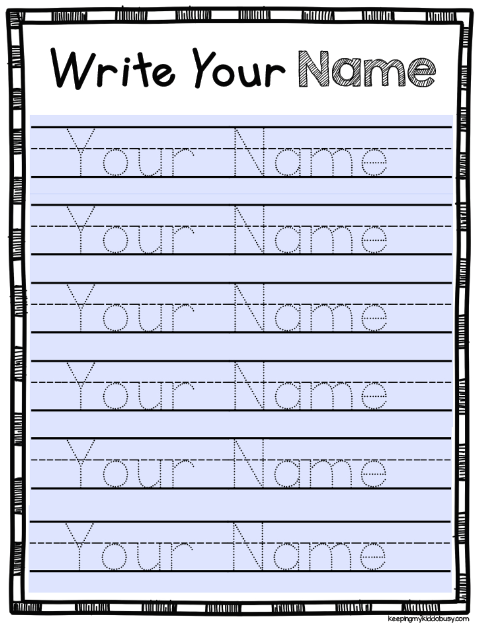 Free Editable Name Tracing Activity - Type Student Names And with regard to Pre-K Name Tracing Sheets